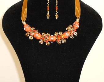 Summery Tangerine Crystal wire Wrap Necklace and Earrings Set
