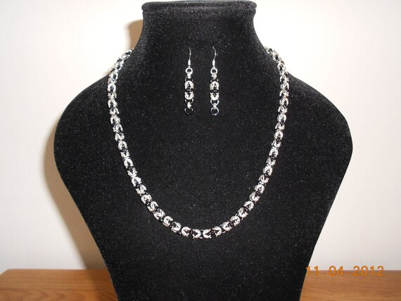 CLEARANCE Black & Silver Byzantine Chain Maille Necklace and Earrings
