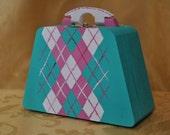 Argyle style painted wooden purse box