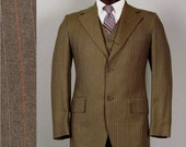 Vintage Mens Suit 1960s 1970s American MOD Brown with Orange Pinstripe 3 Three Piece Wool Sack Suit 38R