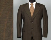 Vintage Mens Suit 1960s Chocolate Brown Pinstriped Lightweight 2 Two Piece Summer Suit 41R M/L
