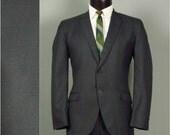 Vintage 1950s Mens ROCKABILLY True SHARKSKIN Blue Green 2 Piece Sack Suit with Skinny Lapels 42 - 44 Large