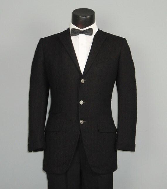 Vintage Mens Sport Coat Jacket 1961 Black on Red Nubby Wool Skinny Lapel MOD Sportcoat 40 - 42