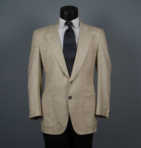 Vintage Mens Sport Coat Jacket Totally Awesome 1980s Louis  Roth Cream and Black Flecked Sportcoat  42R
