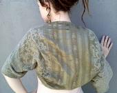 Shrug, Bolero jacket, Green satin, Boho, Gypsy clothes.