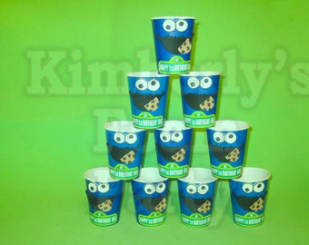 10 Cookie Monster personalized cups