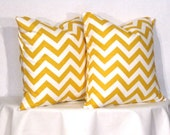 Pillow Covers -  Yellow and White Chevron - Zig Zag Accent Pillow - 18 x 18 inch square - TWO PILLOW COVERS