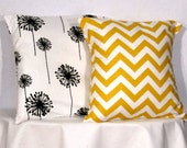 Decorative Pillows 1 Black and White Dandelion and 1 Yellow and White Chevron Accent Pillow - 18 x 18 inch square - TWO PILLOW COVERS