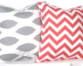 Ikat and Chevron Pillow Set - Set of 16 x 16 Inch Chevron Pillow Covers - Grey and Coral- TWO PILLOW COVERS