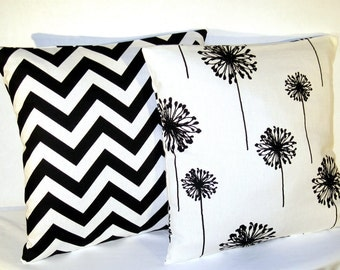 Pillows Black and White Chevron and Dandelion - Accent Pillow - 20 x 20 Inch square - TWO PILLOW COVERS