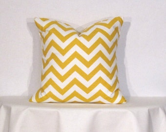 Throw Pillow Cover 16x16 inch Chevron Zig Zag Yellow and White