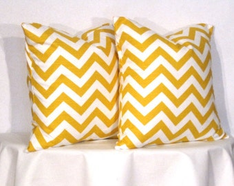 26 inch Pillow Covers -  Yellow and White Chevron - Euro - Zig Zag Accent Pillow - 26 x 26 inch square - TWO PILLOW COVERS