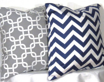 Decorative Pillows 1 Grey and White Gotcha Zig Zag and 1 Navy and White Chevron Accent Pillow - 18 x 18 inch square - TWO PILLOW COVERS