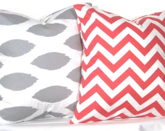 20 inch Ikat and Chevron Pillow Set - Set of 2 Chevron Pillow Covers - Grey and Coral- TWO PILLOW COVERS