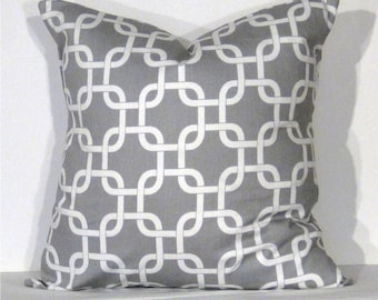 Throw Pillow Cover 20x20 inch Gotcha Grey and White