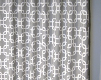 "84"" Grey Geometric Curtains - Two Gotcha Curtain Panels - 50""x84"" - FREE SHIPPING"