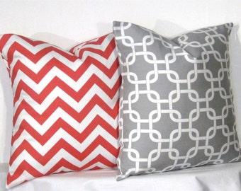 "16"" Gotcha and Chevron Pillow Set - Set of 16 x 16 Inch Chevron Pillow Covers - Grey and Coral- TWO PILLOW COVERS"