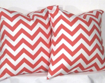 24 Inch Chevron Zig Zag Pillow Set - Set of 24 x 24 Inch Chevron Pillow Covers - Coral and White - TWO PILLOW COVERS