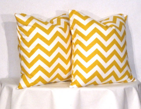 24 inch Pillow Covers -  Yellow and White Chevron - Zig Zag Accent Pillow - 24 x 24 inch square - TWO PILLOW COVERS