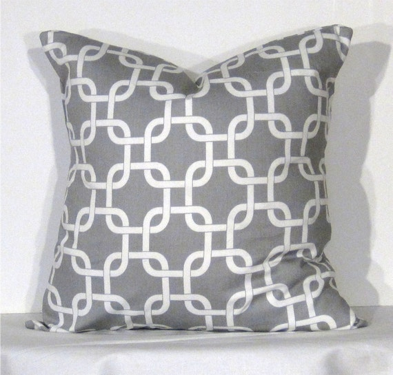 Euro Throw Pillow 26 x 26 Inch Cover Gotcha Grey and White