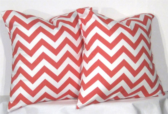 "16"" Coral Chevron Zig Zag Pillow Set - Set of 16 x 16 Inch Chevron Pillow Covers - Coral and White - TWO PILLOW COVERS"