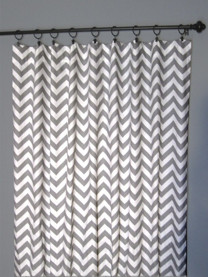 84 Grey Zig Zag Curtains Two Chevron Curtain Panels
