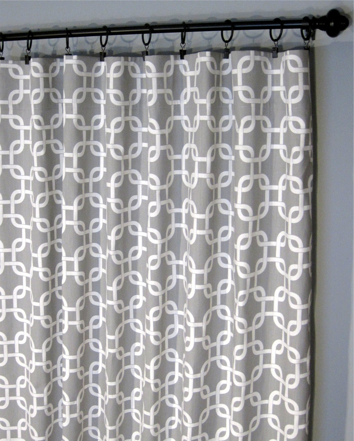 Grey Geometric Curtains Two Gotcha Curtain Panels