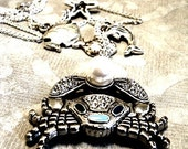Silver Crab Charm Necklace