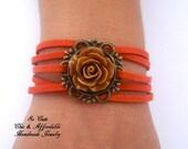 Flower Power Bracelet,  Bracelet, Friendship Bracelet, Leather Bracelet, Charm bracelt, Multistrand Bracelet, You Chose Color
