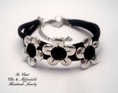 Flower bracelet - Antique silver flower bracelet - leather bracelet - real leather bracelet - charm bracelet
