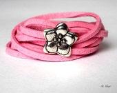 Friendship Bracelet - Silver flower bracelet - Flower necklace - Summer Anklet- Suede Anklet - You chose suede color