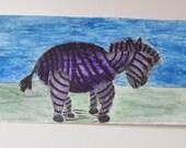 Zebra Watercolor Original Painting.