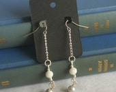 Dangle wire wrapped Earrings in blue and silver