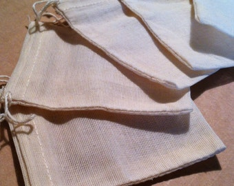 SET OF 20 100% Organic Cotton Muslin Drawstring Bags - All Natural and New