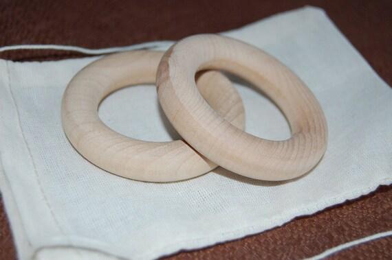 Set of 2 Natural Untreated Wood Teething Rings - 2.5 Inch - With Organic Muslin Bag