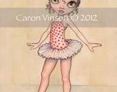 Original Watercolor Painting Little Ballerina by Caron Vinson