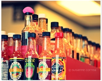 Hot Sauce, spicy, tabasco, photography, fine art photography, home decor, red, bottles