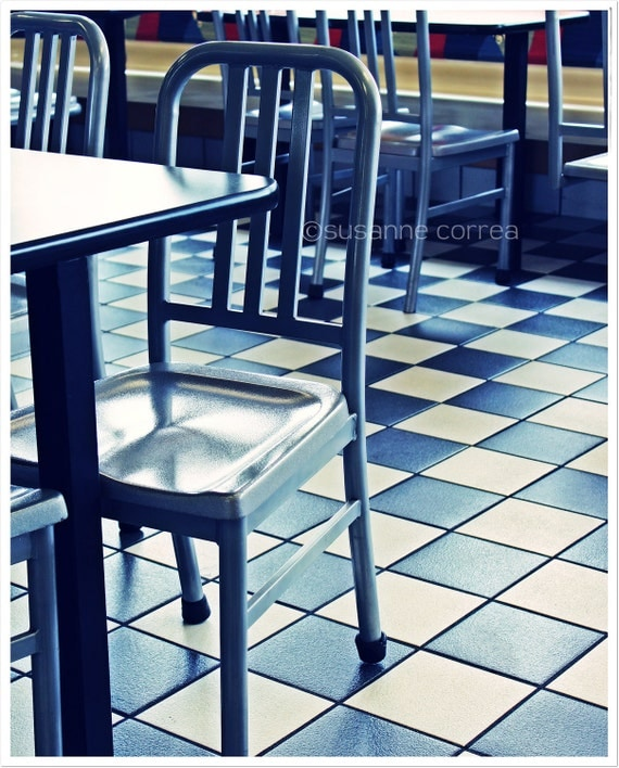 Metal Chair, Diner, food, dining, bar, photography, fine art photography, home decor