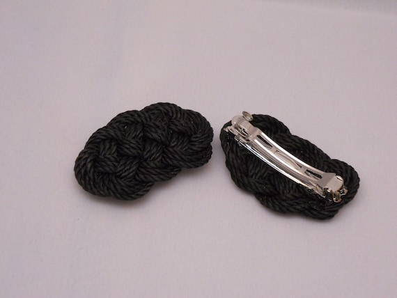 Black Nautical Knot Ocean Plait, Celtic Knot Hair Barrette Clip