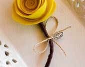 Yellow Felt Flower Wedding Boutonniere|Groom Groomsmen Wedding Boutonniere|Rustic Retro Vintage Spring Summer Wedding|Wedding Accessories