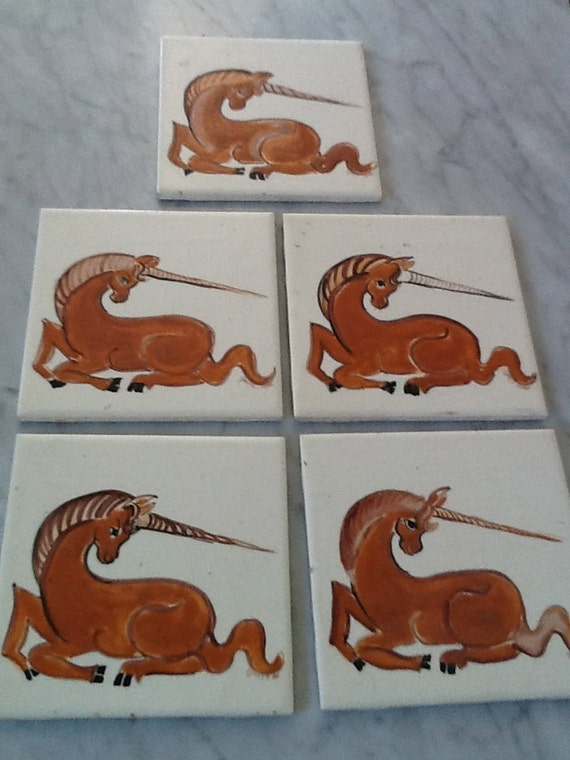 Vintage Original Hand Painted Unicorn Tiles 1980 Orange and Brown on White Porcelain