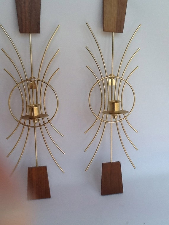 Vintage Retro Mid Century Modern Wall Sconces Candle Holders Brass and Walnut 1960s Mad Men Era