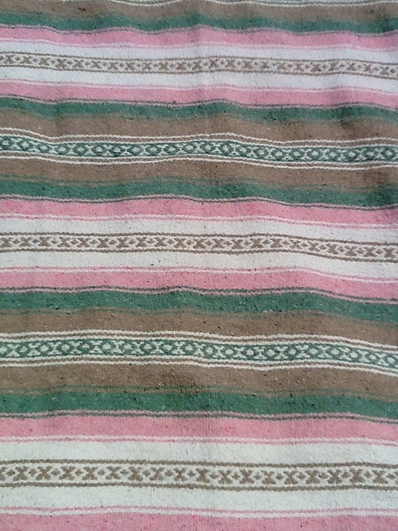 Vintage Southwestern Mexican Native American Cotton Camp Blanket 1980s Pink and Green
