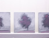 "Three Art Blocks, ""Purple Peace"", 3.50"" x 3.50"", Original oil paintings for the shelf,  3-42312"