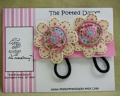 Ponytail Holders: Flowered Crazy Bead  Pony Tail Holders (Set of Two)
