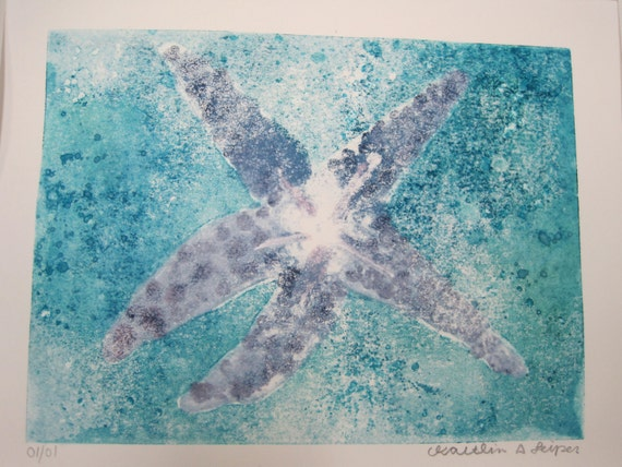 Starfish Ghost Print  One of a Kind Monotype 11x14 100% of the profits go directly to artists with disabilities. Item 75 Kaitlyn L.