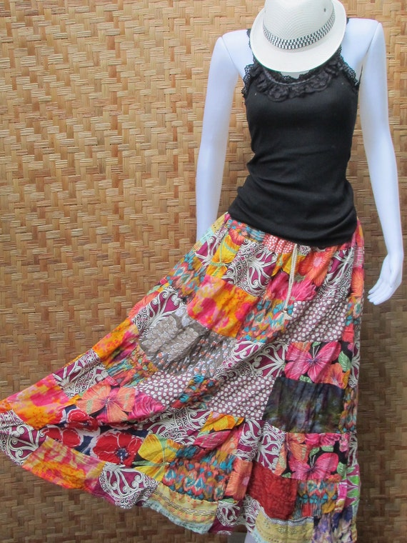 Cotton Patchwork Elastic waist Long Skirt thai cotton and linen