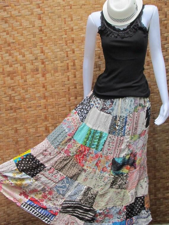 Cotton Patchwork Elastic waist Long Skirt thai cotton and linen