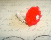CHERRY RED Chrysanthemum Ring- Antiqued White Filigree Adjustable band w/ swarovski crystal-  shabby chic ring, mum ring, cherry red ring