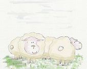 "CUTE SHEEPS, Nursery Art, Baby Art Print, Animal Decor, Easter Print, 8"" x 8"" / 20,3x20,3 cm"